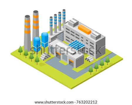 Industrial Factory Building and Pipe or Tower Isometric View Architecture Modern Exterior Facade for Web and App. Vector illustration