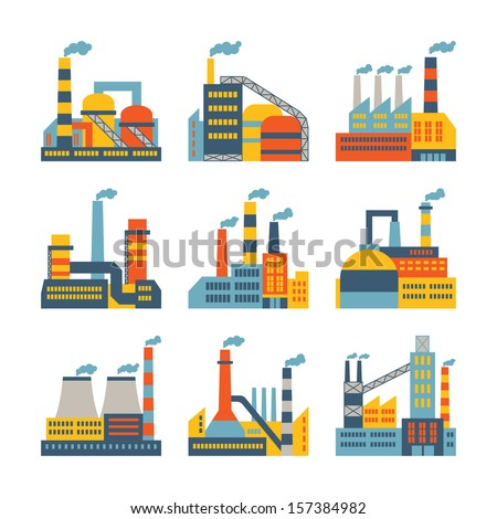 Industrial factory buildings icons set in flat design style. - stock vector