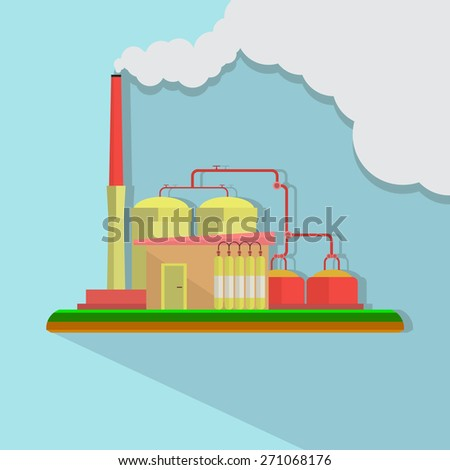 Industrial factory buildings set in flat design style. Environmental pollution. Vector - stock vector