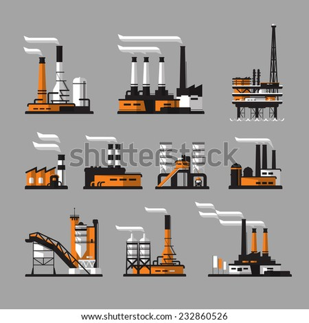 industrial factory icons on gray background - stock vector