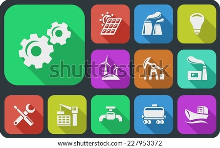 Industrial flat icons - stock vector
