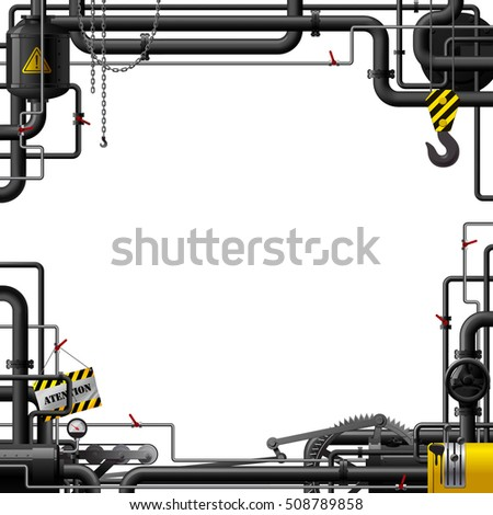 Industrial Frame Black Pipes Machine Gears Stock Vector 508789858 ...