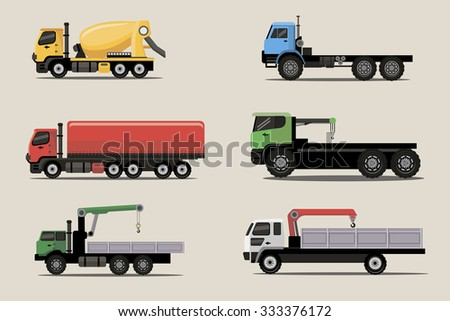 Industrial freight and lifting vehicles vector image design set for your illustration, decoration, labels, stickers and other creative needs.  - stock vector