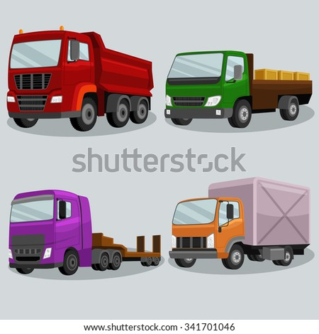 Industrial freight vehicles vector image design set for your illustration, decoration, labels, stickers and other creative needs.  - stock vector