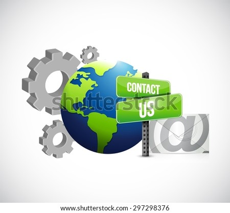 industrial gear contact us mail sign illustration design over white - stock vector