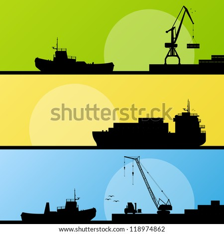 Industrial harbor, ships, transportation and crane seashore landscape silhouette illustration collection background vector - stock vector