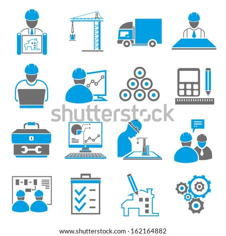 industrial icons, engineering management icon set - stock vector