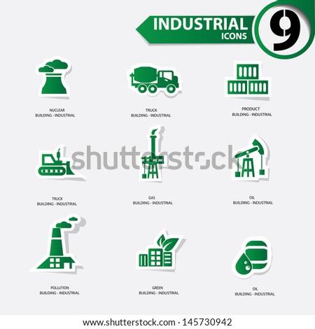 Industrial icons,Green version,vector - stock vector