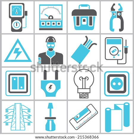 industrial icons set, electrical engineering icons set, blue color theme