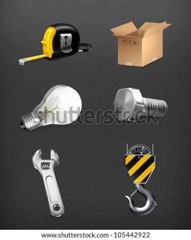 Industrial icons set, vector - stock vector
