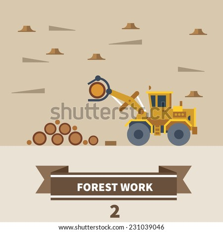 Industrial landscape. Factory and construction. Forest work. Machinery for deforestation. Vector flat illustration - stock vector