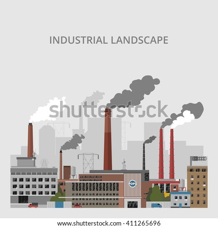 Industrial landscape. Industrial enterprises on a gray background - stock vector