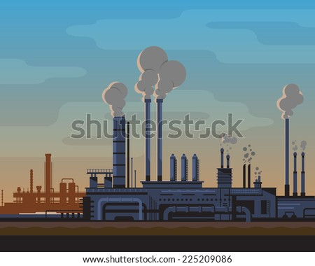 Industrial landscape of manufacturing factory buildings with smoke pipes in sunset. Flat style. - stock vector
