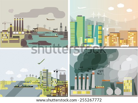 Industrial landscape set.  Plant or factory. Ecology. Pollution. Vector flat illustration - stock vector