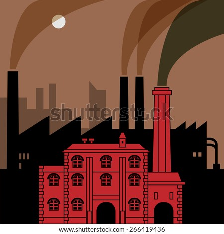 Industrial landscape, vector illustration - stock vector