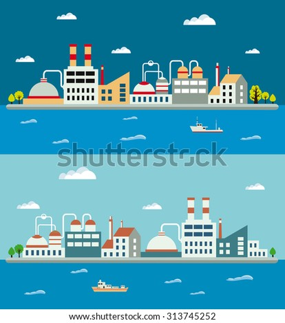 Industrial landscapes and industrial buildings. Boiler building. Power building. Warehouses building. Factories building. The substation building. Buildings urban industrial buildings. - stock vector