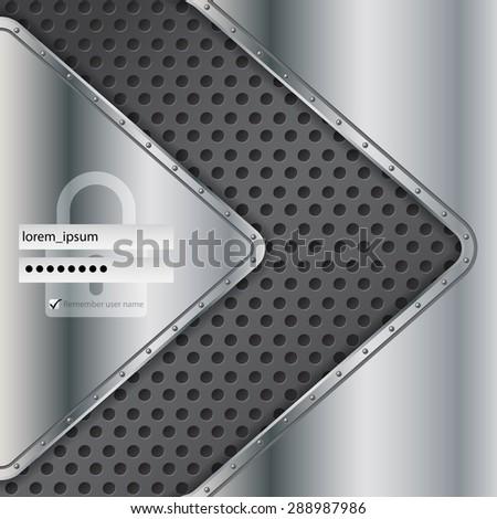 Industrial login screen design with metallic elements - stock vector