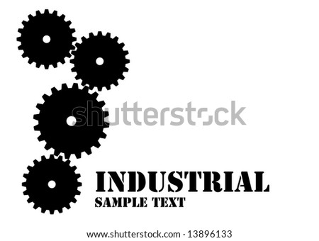 Industrial logo with mechanical cogs in black and white - stock vector