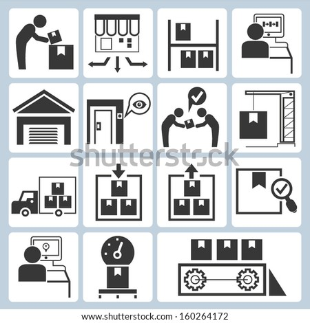 industrial management, production line icons