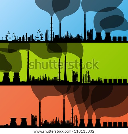 Industrial oil refinery factory landscape illustration collection background vector - stock vector