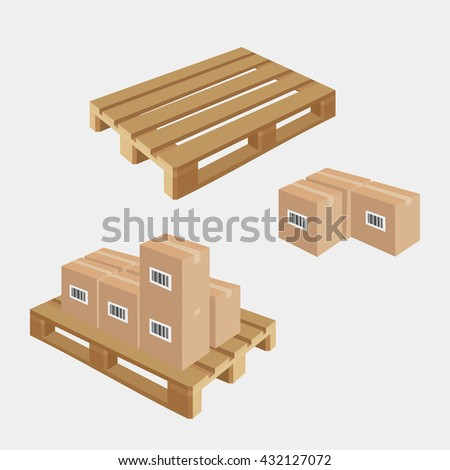 Industrial pallets and boxes for warehouse. Simple set of box and pallets. Made in isometric style - stock vector