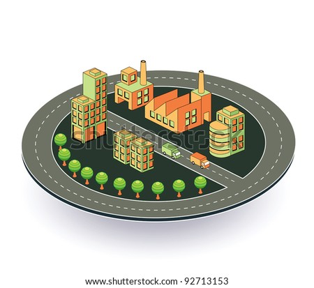 Industrial plant  in isometric view with the landscape - stock vector