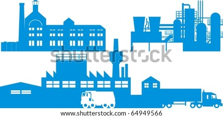 Industrial plants color vector illustration - stock vector