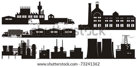 Industrial plants, factories and warehouses vector outline collection set - stock vector
