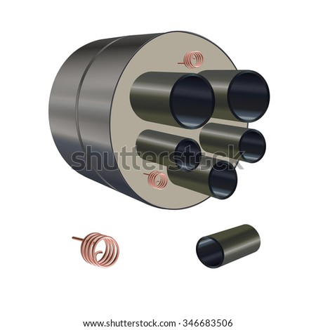 Industrial product, connection pipe, copper coil tube. - stock vector
