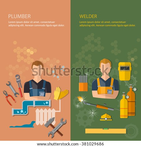 Industrial professions banners plumber and welder plumbing tools and welding tools vector illustration - stock vector
