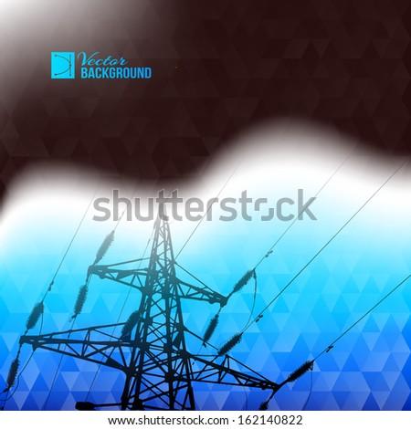 Industrial pylon abstraction. Vector illustration. - stock vector