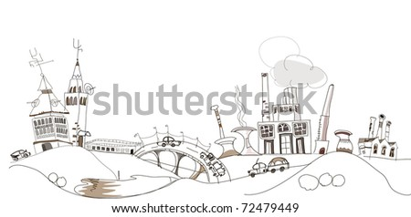 industrial scape - stock vector