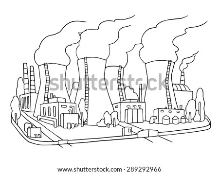 Industrial sketch of nuclear power station. Doodle factory with with smoking plants pipes . Hand drawn outline illustration for business design isolated on white. - stock vector