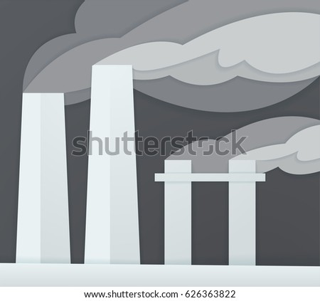 Industrial smoke pipes factory.Vector illustration.Material design template.