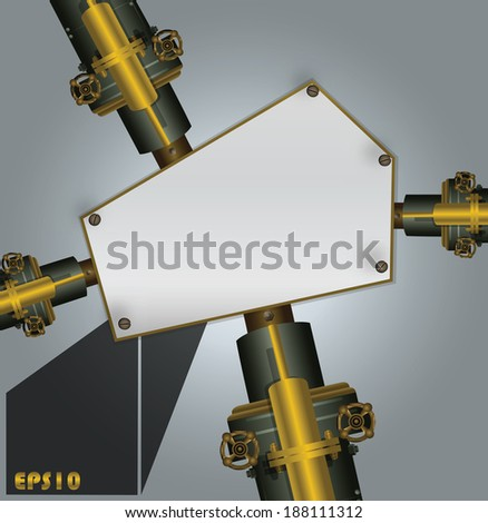 Industrial steam background with text fields. Vector Illustration - stock vector