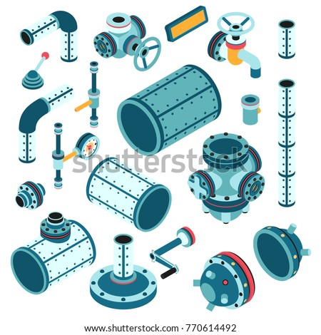 Industrial steampunk spare parts for assembling apparatus, machine - pipe, flange, fitting, body, valve, splitter, lever, handle and so on. 3d isometric vector illustration.