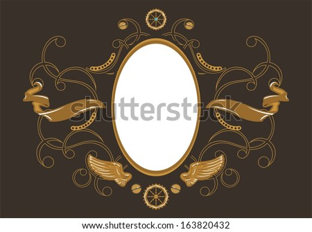 Industrial steampunk style frame with place for your text - stock vector