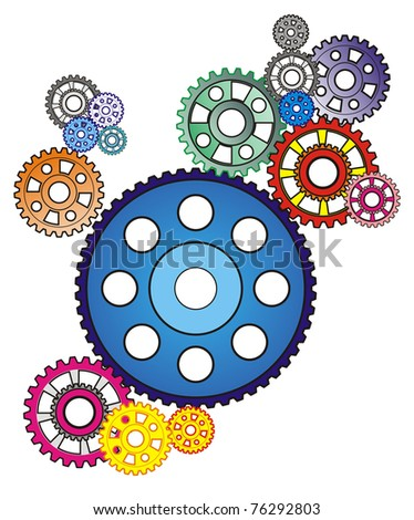 industrial still life - arrangement of colorful gears, isolated on white - stock vector
