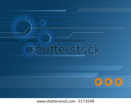 Industrial & technology-themed background with gears and line patterns - stock vector