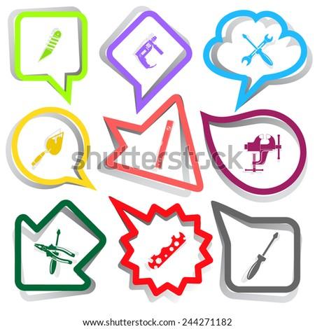 Industrial tools set. Paper stickers. Vector illustration. - stock vector