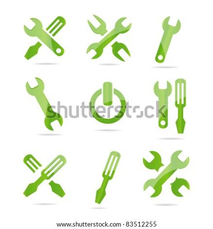 industrial tools symbols set green color - stock vector