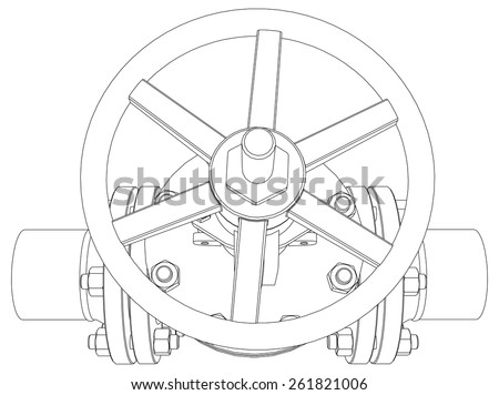 Industrial valve. Detailed vector illustration isolated on white background. Vector rendering of 3d - stock vector