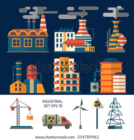 Industrial vector factory icons. Flat style. - stock vector