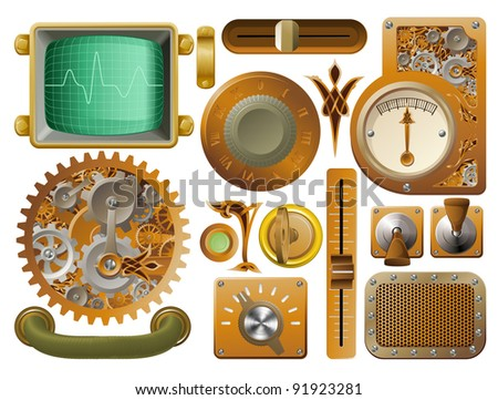 Industrial Victorian style grunge Steampunk design element switches, dials etc. - stock vector