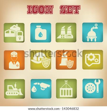 Industrial vintage icons,vector - stock vector