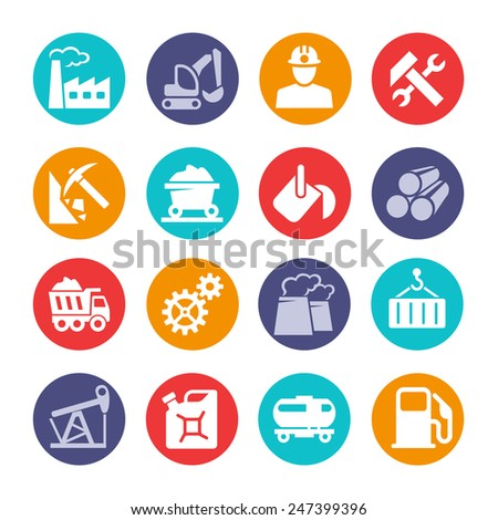 Industrial web icon set - stock vector