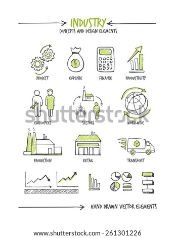 Industry and business hand drawn sketched concepts - stock vector