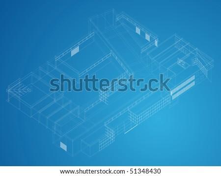 Industry building blueprint - stock vector