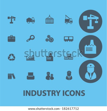 industry, business, management icons, signs set, vector - stock vector