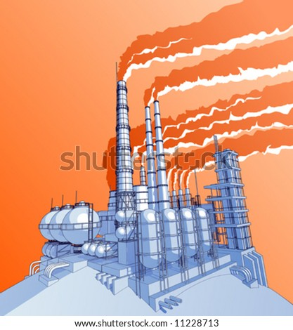 Industry concept: abstract plant with acid sky - stock vector